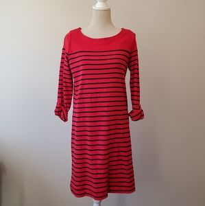 Jones New York red blue striped dress